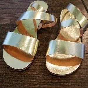 J Crew beautiful gold Callie Metallic sandals